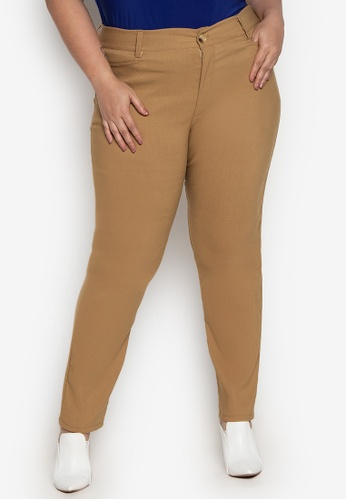 D Fashion Engineer brown Wear-to-Work Plus Size Stretch Pants 7B756AA3245704GS_1