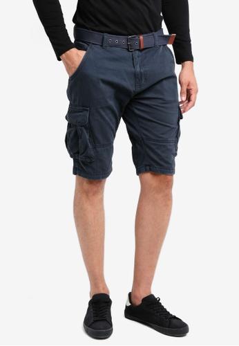 Indicode Jeans navy Monroe Cargo Shorts With Belt C99B3AA5B8DE9FGS_1