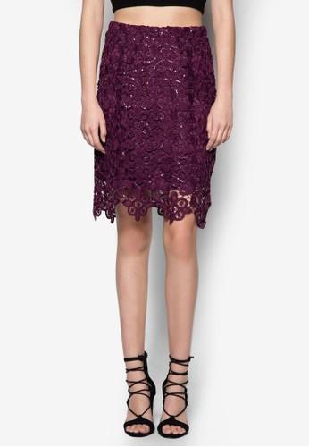Aubergine 鉤花亮片貼身短裙、 服飾、 服飾DorothyPerkinsAubergine鉤花亮片貼身短裙最新折價