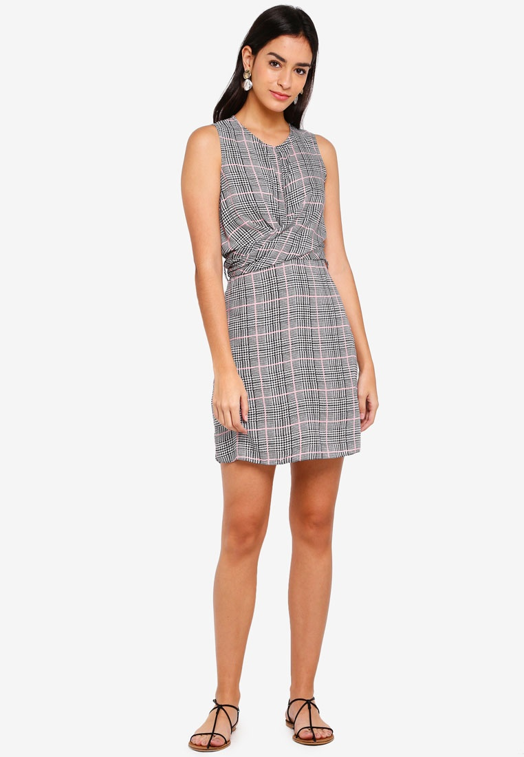 Selfridge Check Dress Miss Grey Mini Front Twist nnHwSqaX