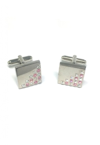 Splice Cufflinks silver White and Pink Crystals Patterned Square Cufflinks SP744AC70FQZSG_1