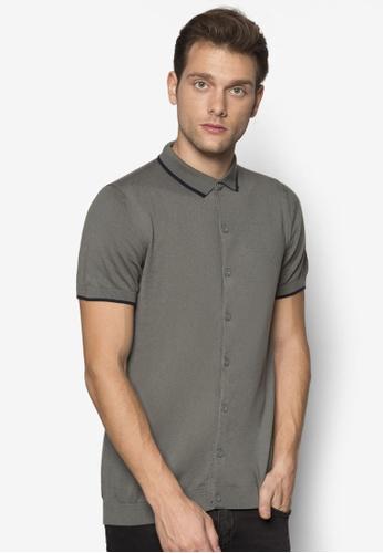 Burton Menswear London green Khaki Knitted Shirt BU964AA94OQJMY_1