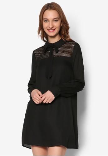 蕾絲拼肩襯衫長袖esprit香港分店連身裙, 服飾, 洋裝