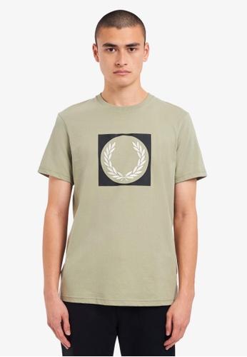 Fred Perry green M1655 - Laurel Wreath Graphic T-Shirt - (Seagrass) FA0BEAADDBB9B0GS_1