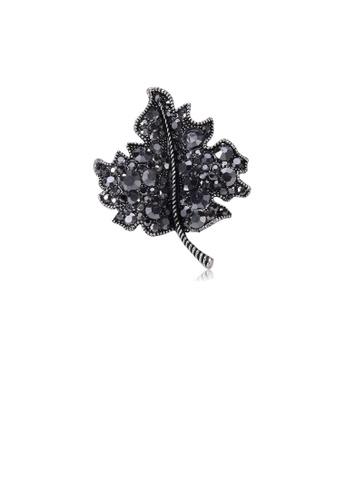 Glamorousky black Fashion and Elegant Maple Leaf Brooch with Black Cubic Zirconia 866D0AC24E1EF7GS_1