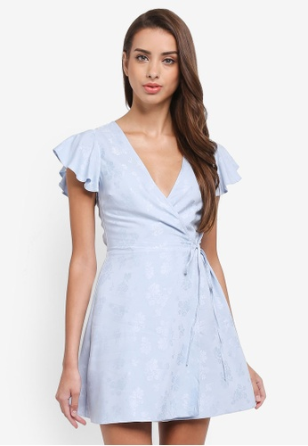 Miss Selfridge blue Petite Jacquard Wrap Dress 918F6AADC514CFGS_1