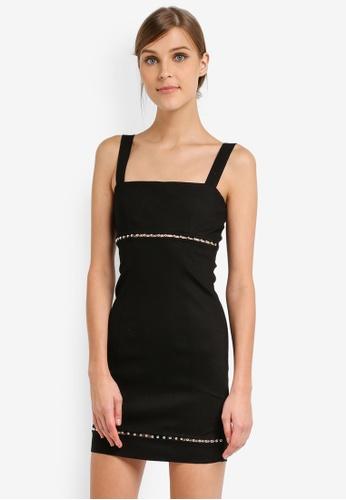 TOPSHOP black Ball Trim Square Neck Mini Dress TO412AA0SLCXMY_1