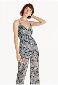 54e4693720d1 Bohemian Print Surplice Jumpsuit - Navy 1EFBCAA586ACB9GS 1
