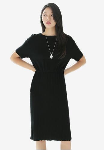 NAIN black Waist Tie Knit Dress 3E7D4AA4838743GS_1