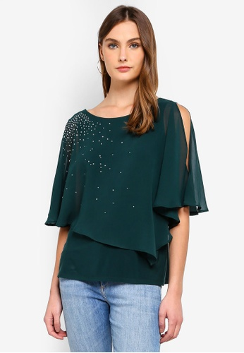 057dc43aeac6d2 Shop Wallis Petite Green Sparkle Layered Top Online on ZALORA ...