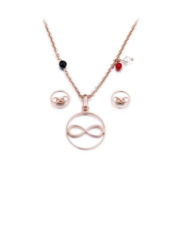 Glamorousky silver Fashion Simple Plated Rose Gold Figure 8 Geometric Round 316L Stainless Steel Necklace and Stud Earring Set 569B1ACA26261AGS_1