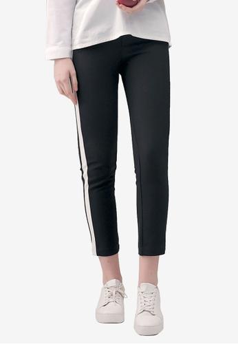 Kodz black Contrast Stripe Lining Pants 8CDEEAAC3418C6GS_1