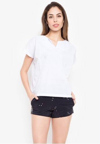 Courier white Plain Blouse 430FBAA1AFB9DFGS_1