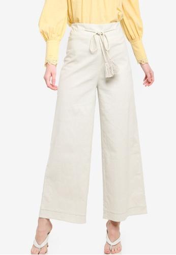Zalia beige Rope Detail Wide Leg Pants 0FE6FAA5C8CEC7GS_1