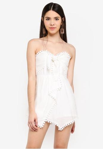 INDIKAH white Crochet Trim Skort Style Playsuit 4092EAA40FA156GS_1