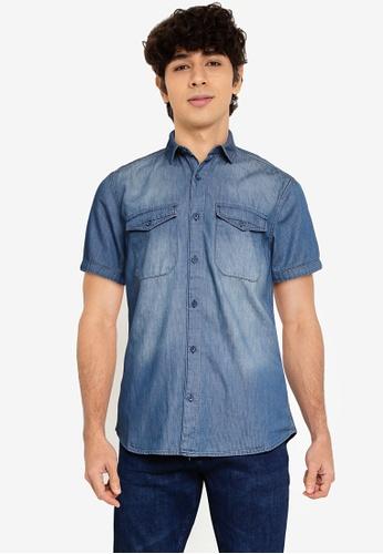 LC Waikiki blue Slim Denim Shirt 6A642AA675D7E6GS_1