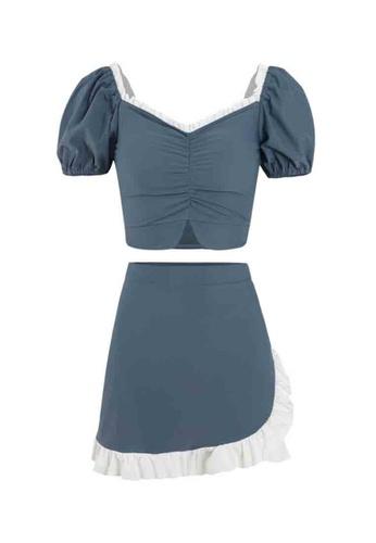ZITIQUE blue Women's Elegant Ruffled Puff Sleeve Two-piece Swimsuit - Blue 0388EUS0866D77GS_1
