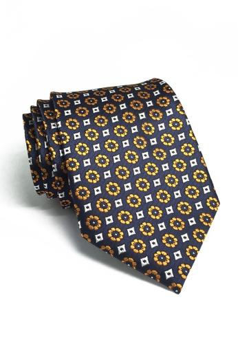 Splice Cufflinks blue Pompon Series Orange Flower Design Polyester Tie SP744AC79ILWSG_1