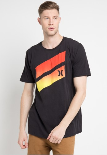 hurley black and multi Icon Slash Gradient T-Shirt 73F6CAA321F287GS_1