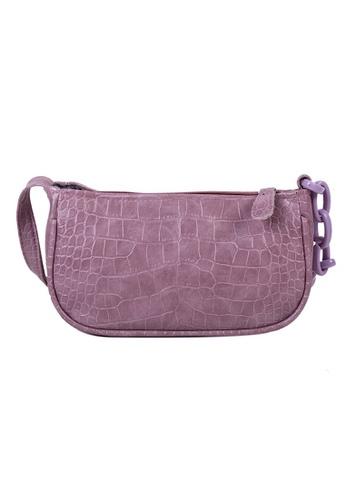 Glamorbit purple Paulia Purple Women Croc Baguette Bag 0A91EAC083BD13GS_1