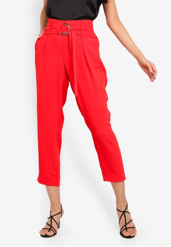 River Island red Carmen Ring Detail Tapered Trousers 422C5AA953BDE4GS_1