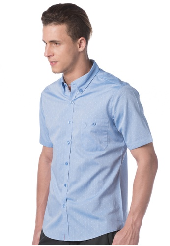 POLO HAUS blue Polo Haus - Woven Short Sleeve Shirt (Blue) PO783AA74JOFMY_1