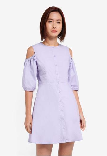 ZALORA purple Cold Shoulder Shirt Dress 2D039AA3885918GS_1