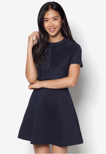 簡約圓領短袖連身裙, 服zalora 心得飾, 正式洋裝