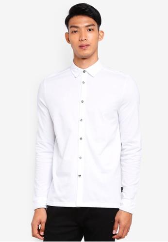 Burton Menswear London white White Two Tone Long Sleeve Shirt 199ECAADA42659GS_1