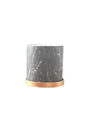 DILAS HOME Gold x Black Marble Effect Plant Pot with Tray - Medium 9B65BHL511B845GS_1