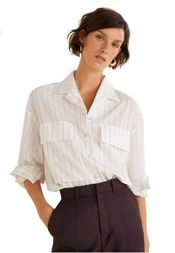 Mango white Chest-Pockets Striped Blouse BBE07AA7917C34GS_1