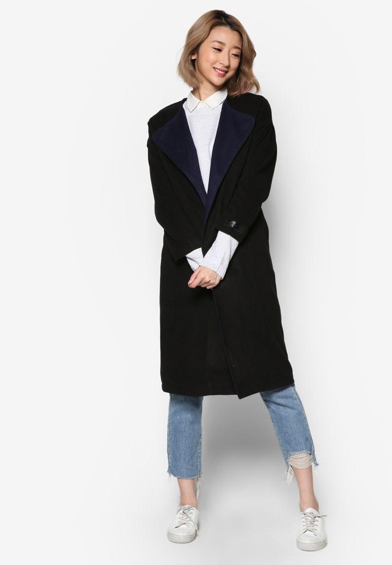 Contrast Colour Wrap Coat