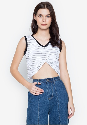Spring Fling white Twisted Stripe Crop Top 72D02AA5CBEC4BGS_1
