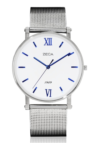 ZECA white and blue and silver Zeca Watches Men Fashion Stainless Steel Analog - 2006M Silver ZE260AC35SMUSG_1