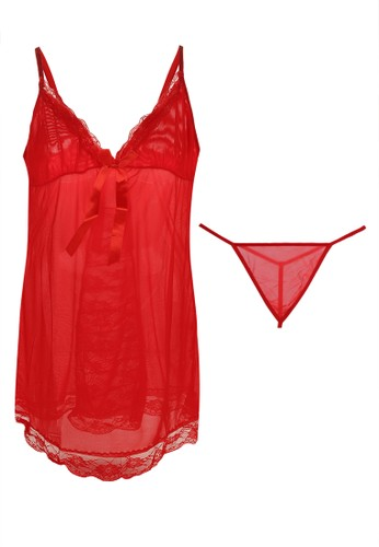 LAVABRA Intimates red Sweet Lingerie - Helena French Lace Sweet  Babydoll Lingerie 2 pcs Set LA387US04SNVID_1