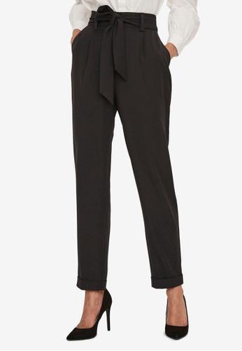 Vero Moda black Mabel High Waist Tie Ankle Pants 72C5FAAB823B0AGS_1