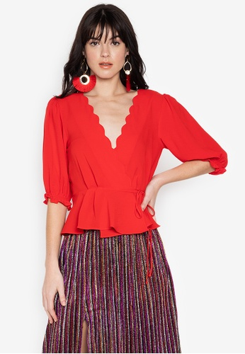 7eb8e5f0da5c2 Shop TOPSHOP Scallop Wrap Top Online on ZALORA Philippines