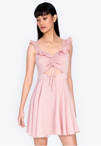 ZALORA BASICS pink Floral Gather Front Ruffle Mini Dress F435EAAF84CE28GS_1