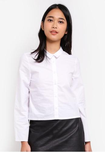 Something Borrowed white Flared Ruffle Cuff Boxy Shirt 1F7B5AABFEC5A8GS_1