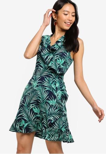 ZALORA 綠色 and 海軍藍色 Ruffles Wrap Dress B3F31AADD0731FGS_1