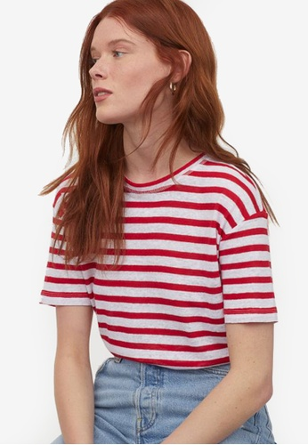 H&M red and multi Linen-Blend T-Shirt 2954FAAD9AEB99GS_1
