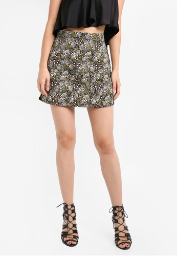 TOPSHOP black Ditsy Floral Ring Side  Mini Skirt TO412AA0SRR9MY_1