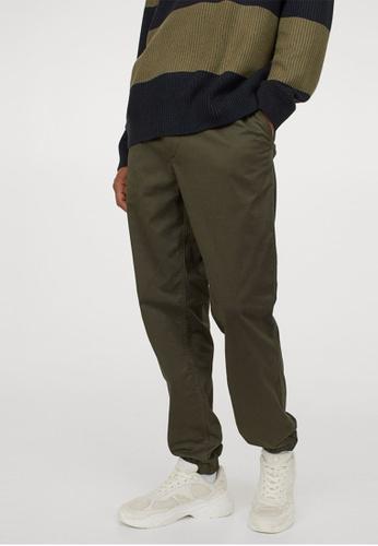 H&M green Brushed Cotton Twill Joggers F95DBAA65074FFGS_1