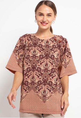 ELSY'S brown Blus Batik Lengan Pendek Kombinasi Kancing 3 Di Pundak 2D9E1AADB6F50BGS_1