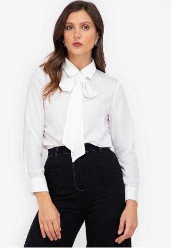 ZALORA WORK white Contrast Pussy Bow Blouse 4FD15AAC989708GS_1