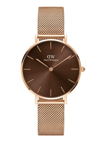 Daniel Wellington gold Petite Amber 32mm Rose Gold Brown Watch AB891AC0871F59GS_1