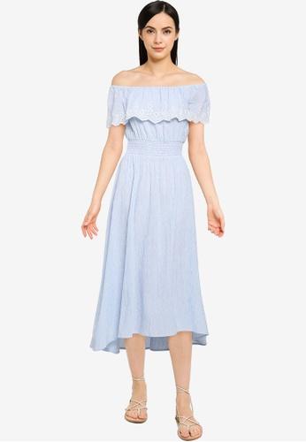 Springfield blue Striped Swiss Embroidery Midi Dress AF423AA5252052GS_1