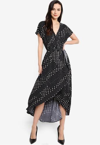 ZALORA WORK black and multi V Neck High Low Dress 0BDF1AA506B753GS_1