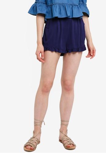 Something Borrowed navy Shorts With Ruffle Detail 3F2BCAA9E3393DGS_1