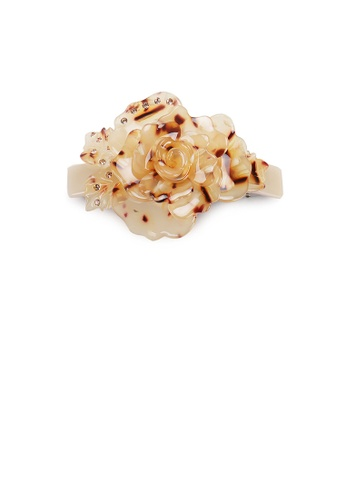 Glamorousky brown Fashion and Elegant Light Tortoiseshell Flower Hair Slide with Cubic Zirconia A134FAC112A3FAGS_1